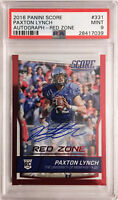 "PSA 9 MINT/ POP 1! 2016 Score PAXTON LYNCH ""Red Zone"" Autographed Rookie #331"