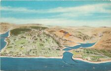 Linen Postcard; View of Carlsbad CA w/ Proposed Small Boat Harbor, San Diego Co.