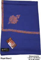 100% Pure Wool India Kashmir Hand Embroidered Shawl Scarf Wrap Royal Blue-2