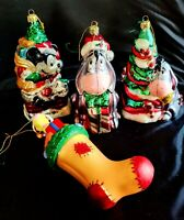 4 large DISNEY Mercury Glass CHRISTMAS ORNAMENTS Mickey Mouse - Tigger & Eeyore