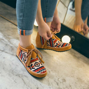 Women Ankle Strappy Boots Hidden Wedge Heels Printed Lace Up Tassel Casual Shoes
