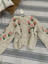 chunky Floral Hand Knitted Knit cardigan One Size S/M Vita Grace UK SELLER.