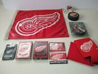 Detroit Red Wings Hockey Collection, flag, pucks, cards, key chain Lot of 11