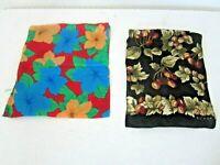 Vtg ECHO Rectangular Scarves Lot of 2 Silk Floral/Fruit Pattern