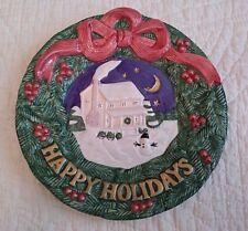 Nib 1996 Omnibus Fitz and Floyd Happy Holidays Canape Plate Wreath Snowman