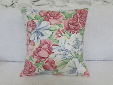 Pretty Cushion Cover, Roses, Floral, Pink, Blue, 100% Cotton, Flowers, Lilies.