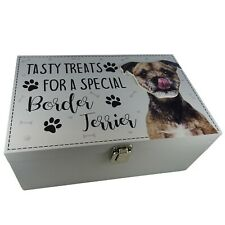 Border Terrier Dog Puppy Treats Food Storage Container Holder Biscuits Wood Box