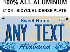 "Alabama Novelty Aluminum 3"" x 6"" BICYCLE State License Plate, gift monogram"