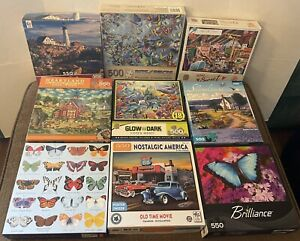 Lot of (9) Mixed Piece Puzzles Butterflies Bits Pieces Masterpieces Nostalgic ++