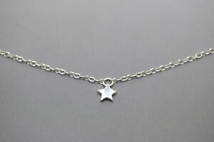 Tiny Silver Star Necklace - Solid Sterling Silver 925 Star Bead Charm Necklace