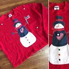 patriotic Snowman Sweatshirt XL Flag USA Novelty Ugly Tacky Upcycled