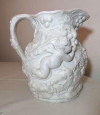 large antique ornate 1856 Minton parian cherub putti water pitcher staple repair