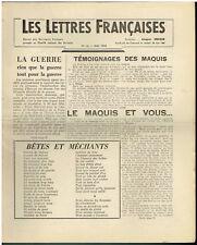 Les lettres Francaises N° 16  Mai  1944 - Jacques Decour  Queneau Sartre Triolet
