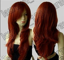 hot!! Long Heat Resistant Big Wavy Dark Copper Red Cosplay Wig