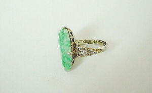 Antique Chinese Carved Jade Ring Silver Floral Adjustable