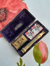 1930 Vintage Gillette Chrome Big Boy Deluxe Safety Razor Set