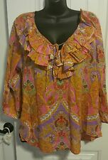 Lauren XL Semi Sheer Boho Ruffled Tie Front Peasant/Paisley Blouse
