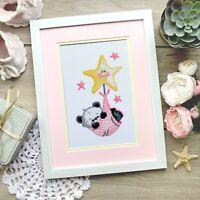 "Baby Bear Cross Stitch Kit ""Lullaby"" Animal Embroidery for Nursery DIY KIT"