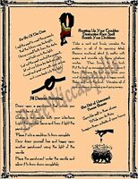 Asstd Banishing Spells on 1pg Parch fr Wicca Book of Shadows Witch Pagan Rituals