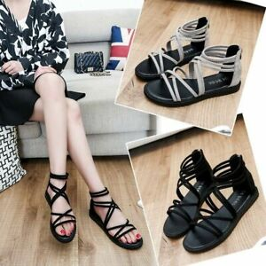 Womens Gladiator Strappy Flat Sandals Elastic Ankle Strap Open-Toe UK Size Black