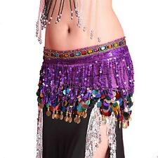 Women Belly Dance Hip Skirt Scarf Wrap Belt W/Coins Sequin Tassel Hipscarf Band