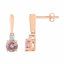 10kt Rose Gold Womens Round Lab-created Morganite Dangle Earrings 3/8 Cttw