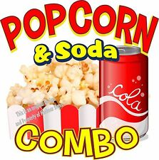 "Popcorn Soda Combo Decal 14"" Restaurant Concession Food Truck Vinyl Sticker"