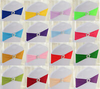50pcs Lycra Spandex Stretch Wedding Event Chair Cover Band Sashes Crown Buckle
