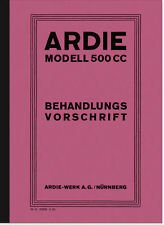 Ardie 500 CC 1929 MANUALE MANUALE trattamento disposizione CC SV JAP