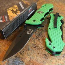 MTech GREEN Skull Medallion Serrated G10 Rescue Spring Assisted Pocket Knife NEW