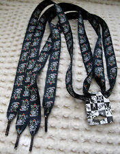 Premium Ed Hardy Black City Skulls Hearts Rockabilly Punk Shoe laces Shoelaces