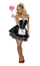 Ladies French SEXY MAID Costume Black Dress Apron + Headpiece Adult Small 2 4 6