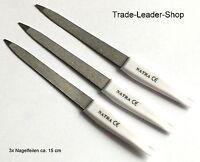 Ensemble de 3 Sapphire ongles 15cm fichiers de métal, NATRA CE inoxydable