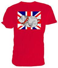 Cartoon Running Bulldog T shirt, Union Jack - Choice of size & colours