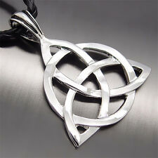 """Men's Celtic Knot Triquetra Trinity Pewter Pendant with 20"""" Choker Free Necklace"""