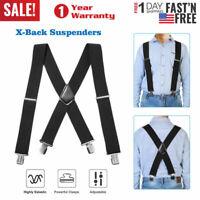 Men's X-Back Suspenders 4 Clasps Adjustable Long Elastic Braces Suspenders New U