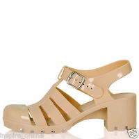 WOMENS SHOES LADIES SANDALS CHUNKY SUMMER BLOCK HEEL BUCKLE JELLY RETRO NEW SIZE