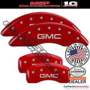 MGP Caliper Brake Cover Red 34001SGMCRD Front Rear For GMC Acadia 2016-2017