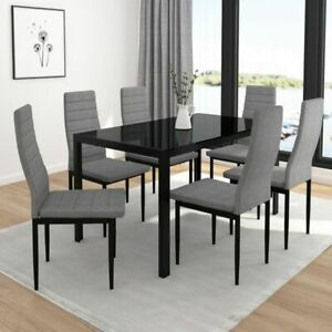 """""""Contra"""" 7 Piece Dining Set with 6 Chairs & 1 Table Pack in White or Black"""