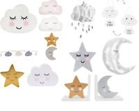 Baby Nursery Bedroom Cloud Rain Drops Sun Star Moon Light Shade Rug Knob Cushion