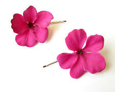 2 x Hot Pink Hibiscus Flower Hair Grips Clips Bridesmaid Bobby Pins Slides 2091