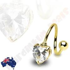 316L Surgical Steel Gold Ion Plated Twist Bar With Clear Heart Gem