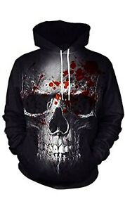 Spooky Skull & Blood Hoodie Horrifyingly Realistic Pullover For Halloween Gothic
