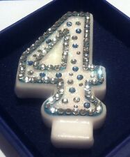Number 4 Four Birthday Candle Diamanté Frozen Party Cake Topper FREE POST