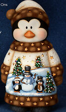 Ceramic Bisque Ready to Paint Santa Penguin with Scene ~clipin light included~