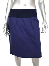 CAbi Womens Pencil Skirt Sz 8 Blue Woven Textured Cotton Stretch