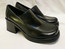 SKECHERS BLACK LEATHER PLATFORM CHUNKY HEELS SLIP ON WOMENS LOAFERS 6.5M $130