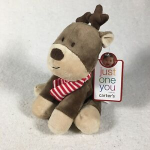 Carters Just One You Reindeer Baby Plush Lovey Brown Christmas Red Striped Scarf