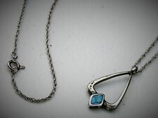 """Pressed Stone Pendant 18"""" Necklace Southwestern 1 1/8"""" Sterling Silver"""