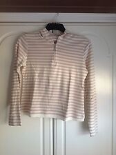 Marks & Spencer Beige Striped Hooded zip up Cotton Top - Size 14